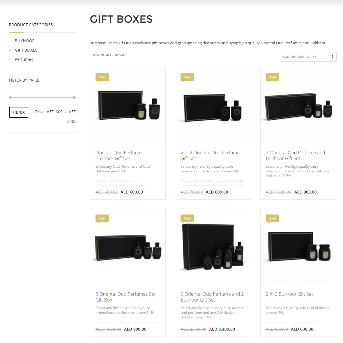Browse to Gift Box section of Touch Of Oud