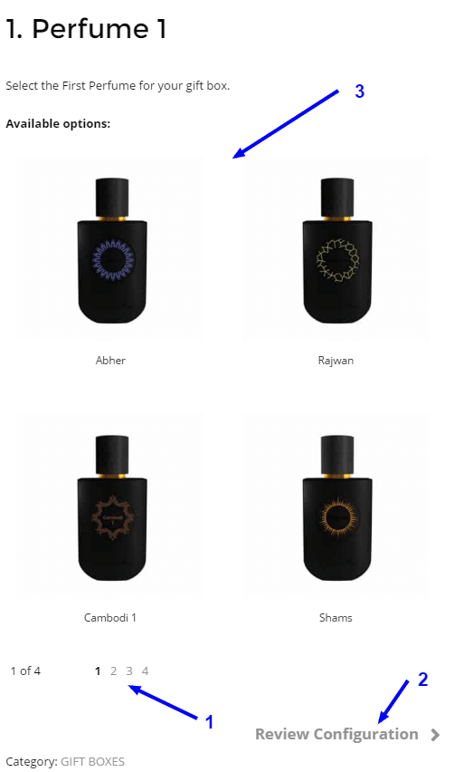 Select your product for the seciton